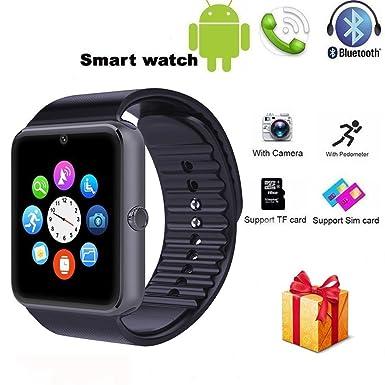 qimaoo inalámbrico Bluetooth Reloj Inteligente con Ranura para Tarjeta SIM Cámara Teléfono Mate Reloj de Pulsera