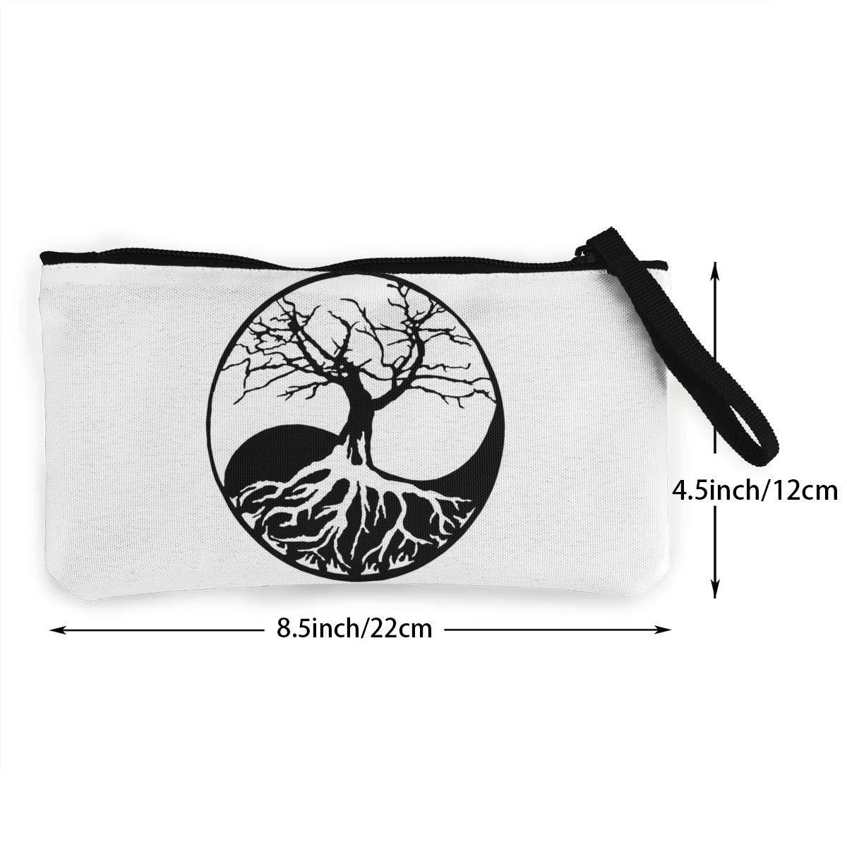 Canvas Cash Coin Purse,Yin Yang Bonsai Tree Print Make Up Bag Zipper Small Purse Wallets