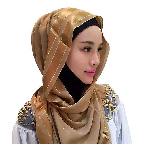 BOZEVON Mujeres Moda Hermoso musulmán islámico largo Hijab Fular Bufanda Pañuelo para la cabeza, 6 c...