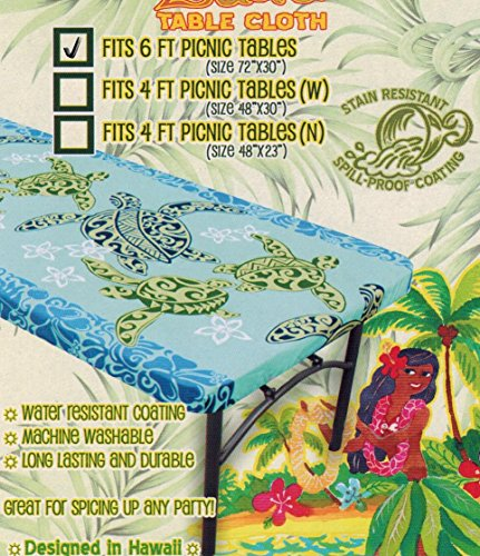 Turtle Tropical Picnic Tablecloth (Fitted 6 feet picnic tables, spicing up any party)) by Kauhale Living