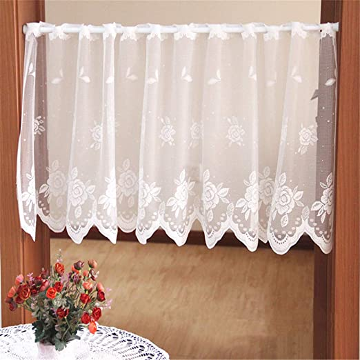 Embroidery Home Kitchen Curtain Cafe Lace Valance Window Sheer Voile Short Panel