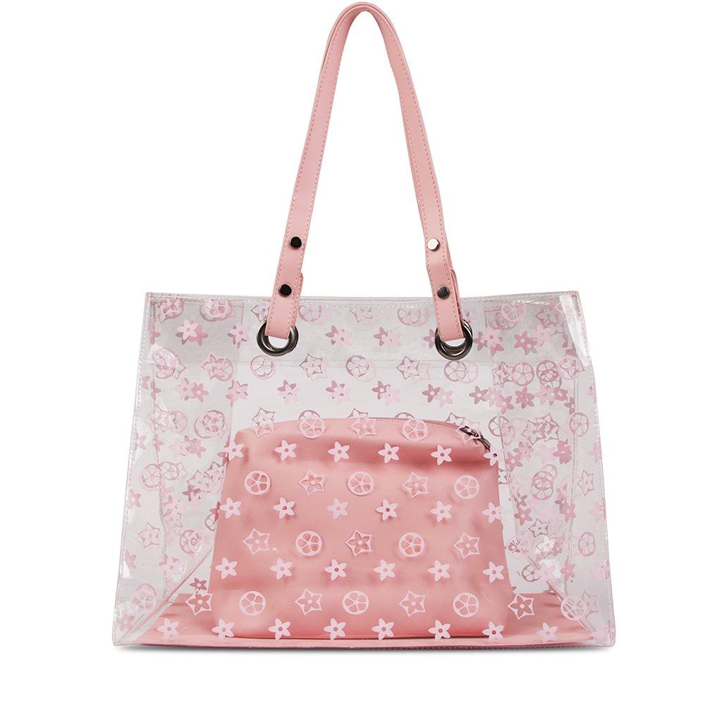 Olyphy Set of Large Clear Tote Handbag, Transparent Pvc Ladies Top Handle Handbag for Women Shoulder Bag with Flower (pink)