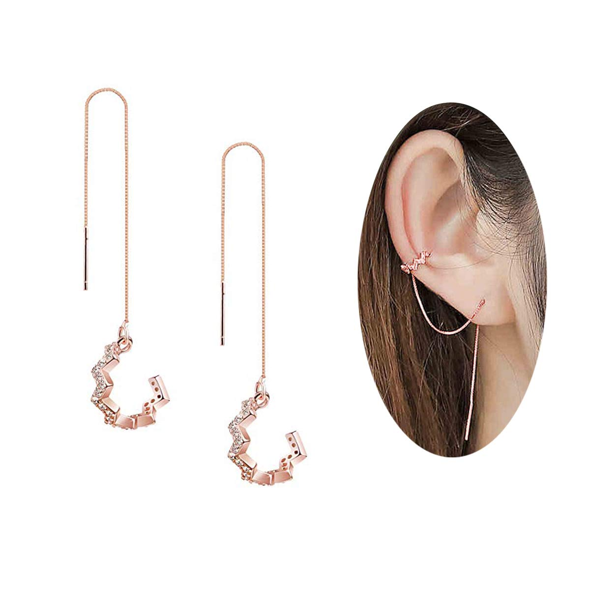 FarryDream 925 Sterling Silver New Arrival Wave Cuff Earrings Wrap Tassel Earrings for Women Threader Earrings Perfect Valentine's Day Gifts (rose-gold-plated)