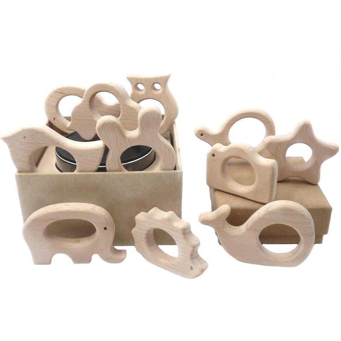 Coskiss 11pcs Organischer Baby-Zettel-hölzerner Teether Natürliches Zahnen-Greifen-Spielzeug-Baby-Dusche-Geschenk-Kleinkind-Zettel Neugeborenes Baby-Geschenk (Holzfarbe-11PCS)