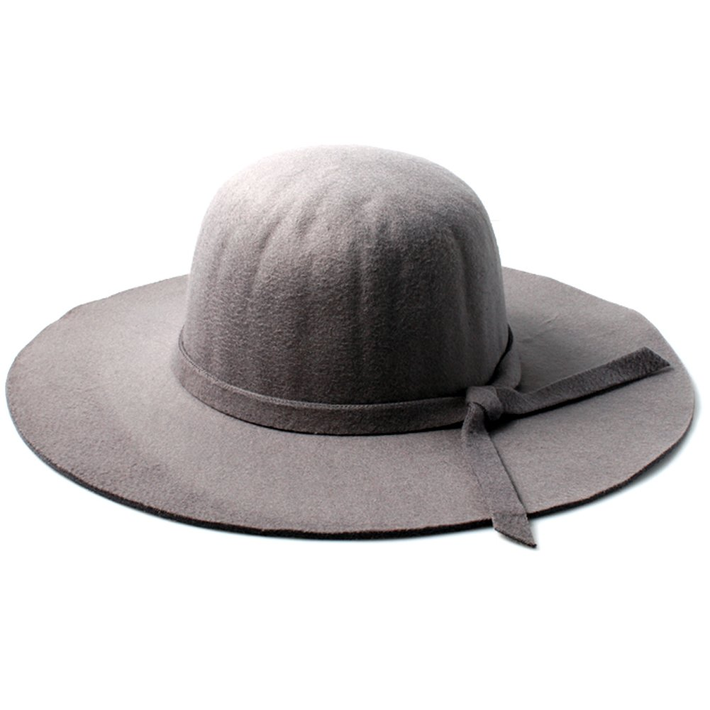 Accessoryo Women's Grey Floppy Fedora Hat with Knotted Band Detail