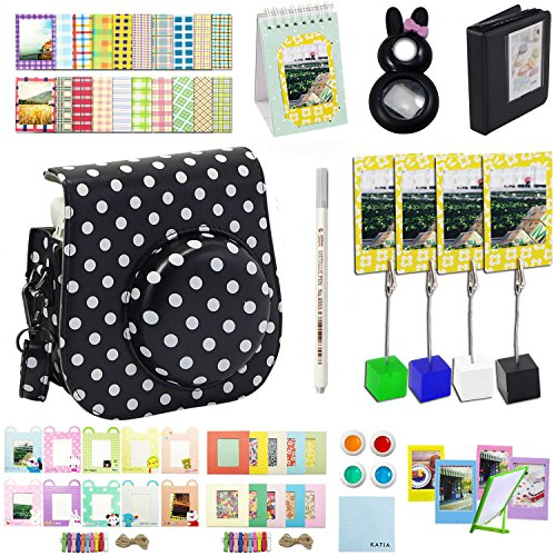 Katia Camera Accessories for Fujifilm Instax Mini 9 or Mini 8 Instant Film Camera - Fuji Case with Strap, Photo Album, Frame, Selfie Len, Filters, Stickers & more. - 12 (Film Halloween)
