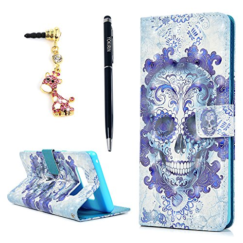 Note 8 Case, YOKIRIN 3D Relief Premium PU Leather 2-in-1 Protective Folio Flip Wallet Case with Credit Card Holder Slots and Wrist Lanyard for Samsung Galaxy Note 8 - Blue - Note Cards Wallet