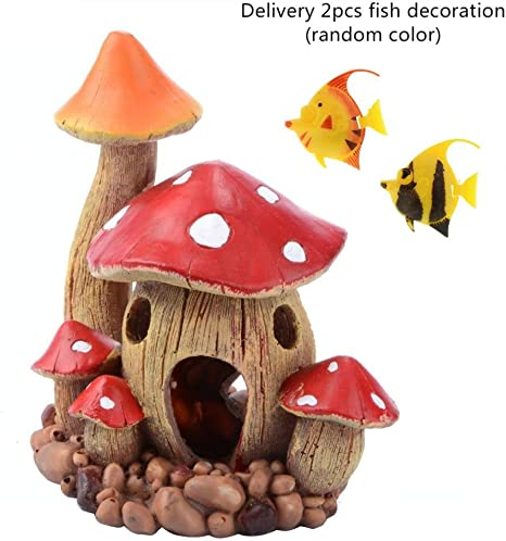 Amazon Com Saim Resin Mushroom House Aquarium Decorations Fish