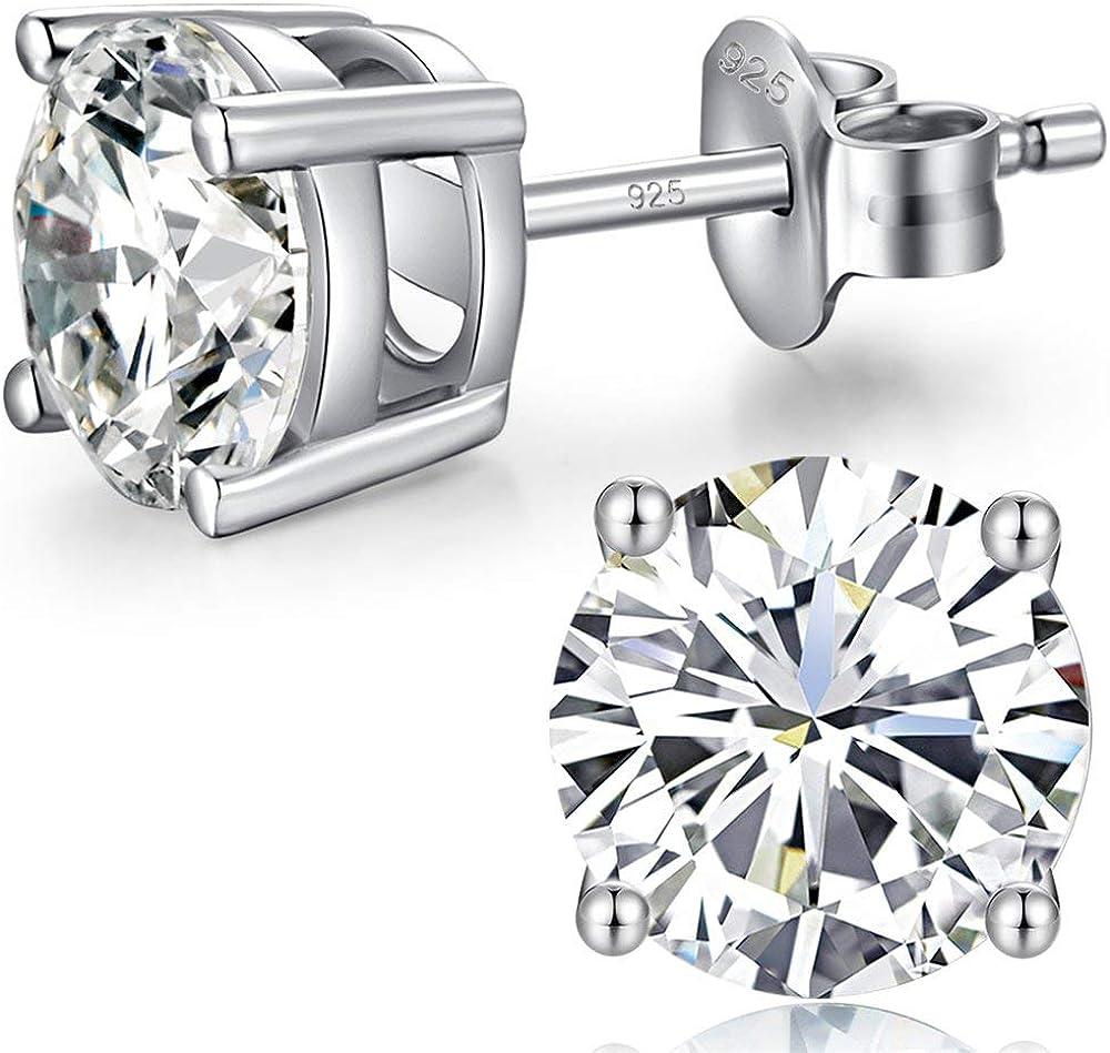 Jiahanzb 18K Chapado En Oro Blanco 5A Zirconia Cúbica Simulado Diamante Brillante Ronda Aretes Plata De Ley 925 4 MM a 8 MM Fina Joyería Para Mujeres Hombres