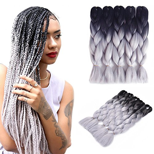 - Two Tone Ombre Jumbo Braid Hair Extension 5Pcs/Lot 100g/pc Kanekalon Fiber for Twist Braiding Hair (1B-Silver gray)