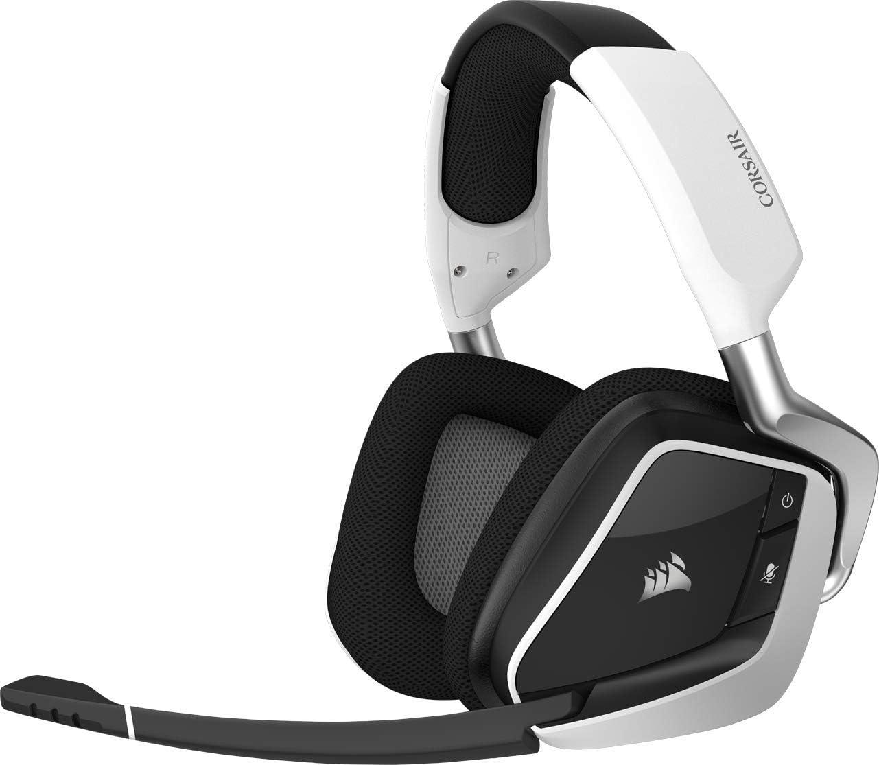 Corsair Void PRO RGB Wireless Auriculares para Juegos, 7.1 Sonido envolvente, Inalámbrico de 2,4 GHz de baja latencia, 12 m de alcance, Personalizable Iluminación LED RGB, color Blanco