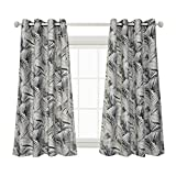 Cheap MYSKY HOME Palm Leaf Fashion Design Print Thermal Insulated Soft Textured Linen Look Room Darkening Curtains, 52 x 63 Inch, Grey, 1 Panel