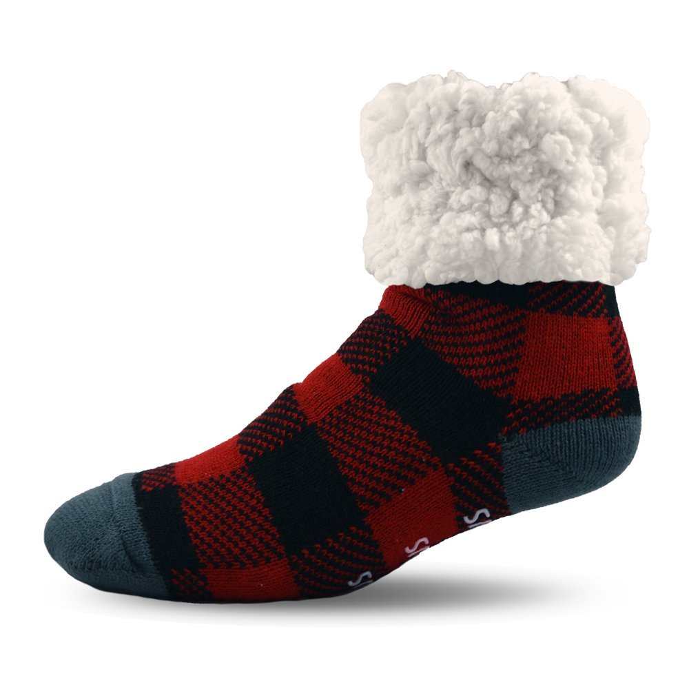 PUDUS Brand Slipper Socks, LumberJack Red, Adult LJ-RED-1-C
