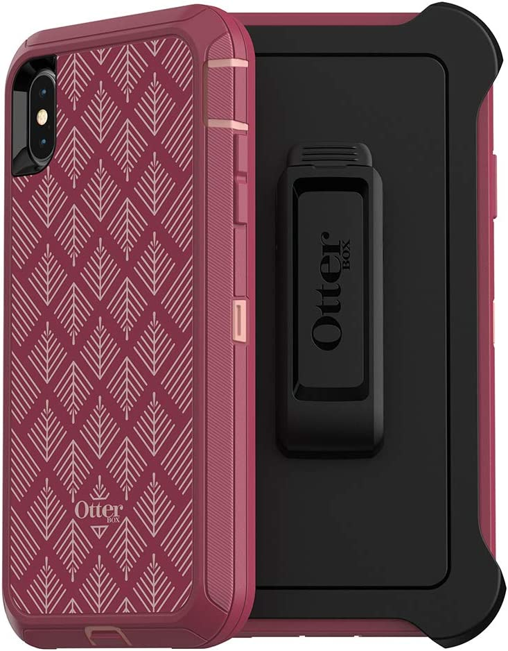 OtterBox DEFENDER SERIES SCREENLESS EDITION Case for iPhone Xs Max - Retail Packaging - HAPPA (SILVER PINK/RED PLUM/HAPPA GRAPHIC)