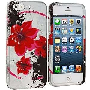 Accessory Planet(TM) Red n Black Flower Chain Hard Snap-On Design Rubberized Case Cover Accessory for Apple iPhone 5 / 5S