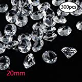 Outuxed 300pcs 20mm Clear Wedding Table Scattering Crystals Acrylic Diamonds Gemstones Wedding Bridal Shower Party Decorations Vase Fillers, 1.5 LB, with 1 Large Velvet Pouch