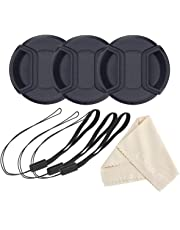 waka 55mm Camera Lens Cap with Lens Cap Keeper Leash & Microfibre Cleaning Cloth for Nikon, Canon, Sony & Other DSLR Camera - Set of 3
