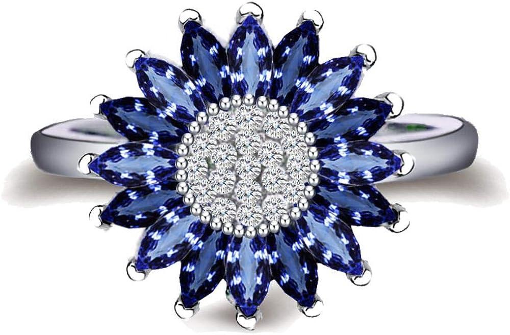 JIUERMA Las Mujeres de Moda de Plata 925 Anillos de Zafiro de la joyería para el Anillo Partido Busca Pareja Piedra Preciosa Azul Girasoles Planta