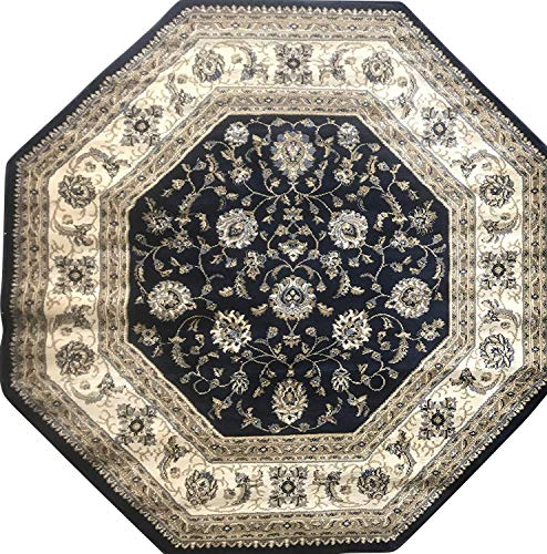 Deir Debwan Traditional Octagon Persian Area Rug 330,000 Point Dark Blue Beige Ivory Design 601 (5 Feet 3 Inch X 5 Feet 3 Inch)
