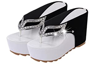Women Summer Rhinestone Strap Flip Flops High Heeled Beach Sandals Shoes