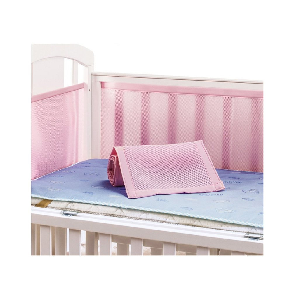 Breathable Crib Bumper Soft Mesh Crib Liner (Pink)