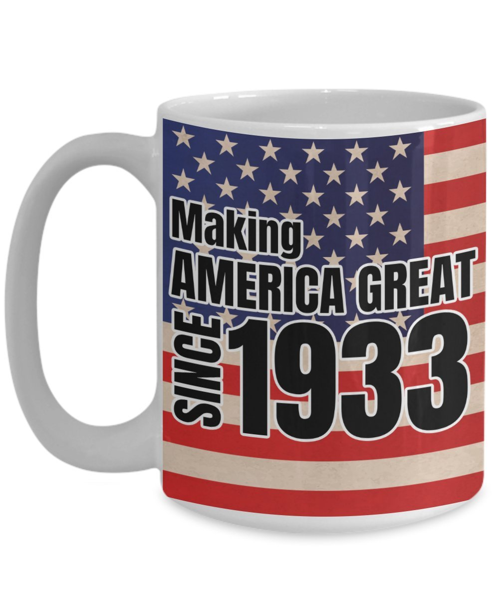 Making America Great Since 1933 Mug 85th Birthday Gifts 15oz Wrap Around Coffee Cup Funny Republican Gift