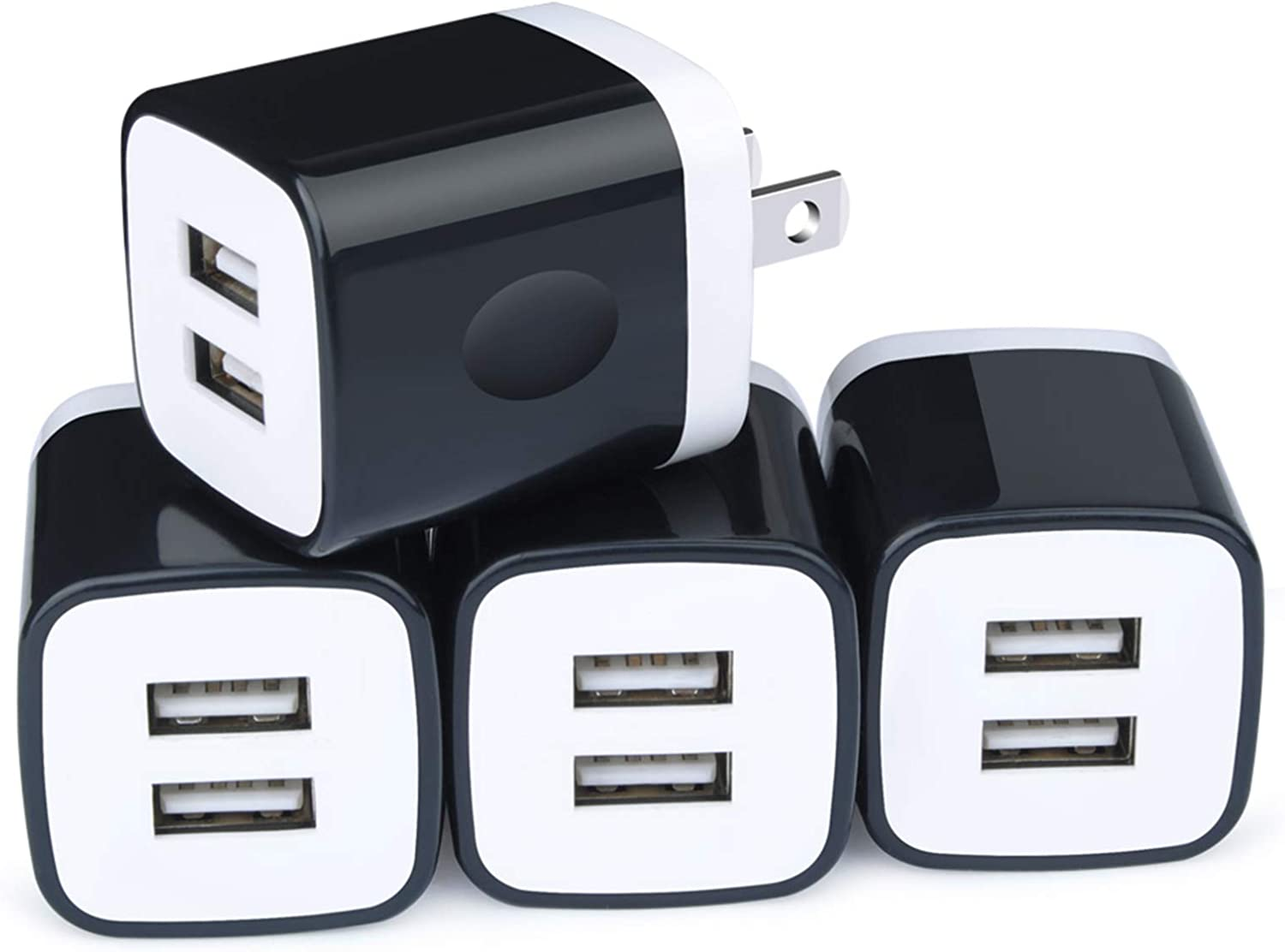 USB Wall Charger Brick, 4-Pack 2.1A/5V Dual USB Plug Power Adapter Charger Box Charging Cube Heads for Replacement for iPhone Xs/XS Max/XR/X/8/7/6/Plus, Samsung Galaxy S8 S7 S6 Edge, LG, Moto, HTC