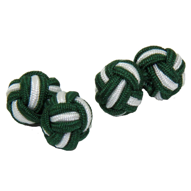 Green & White Silk Knot Cufflinks | Cuffs & Co