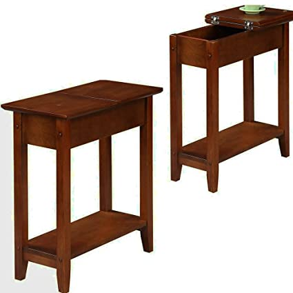 Bon Modern Walnut End Table With Flip Top Storage Wood Narrow End Table For  Living Room Tall