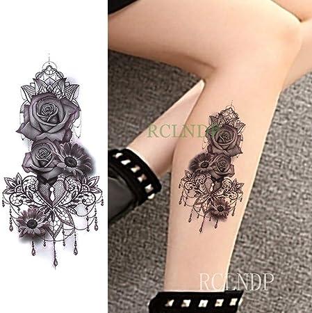 ljmljm 5 Piezas Impermeable Tatuaje Pegatina Rosa crisantemo Flor ...