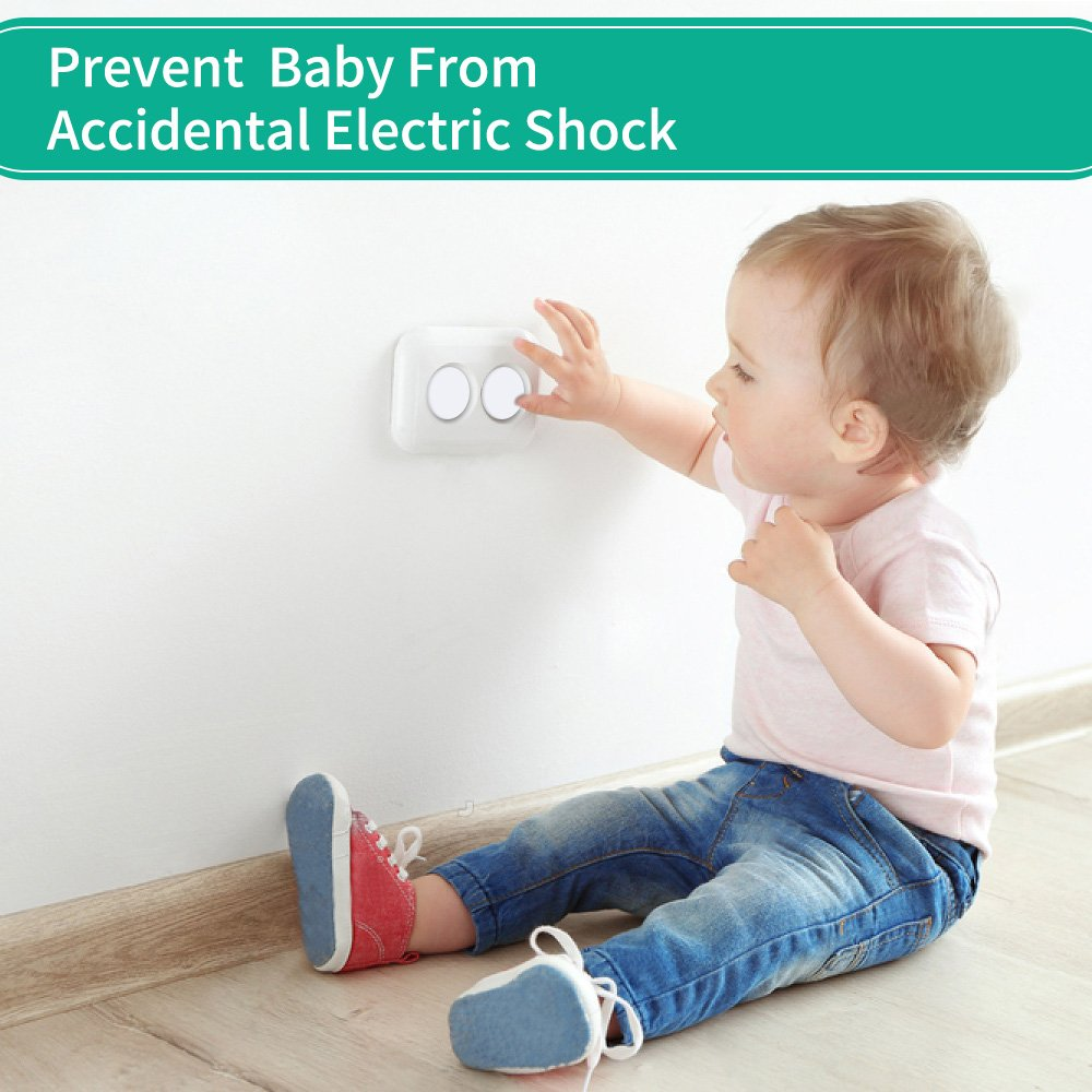 Esonstyle 40 Pack Outlet Plug Covers Clear Child Proof Electrical Protector Safety Caps ABS Environmentally Friendly Resin Material (White)