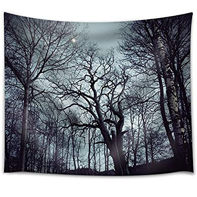 Elegant Artistry, Made With Love, Moon Illuminating a Forest with Trees Filled with Branches