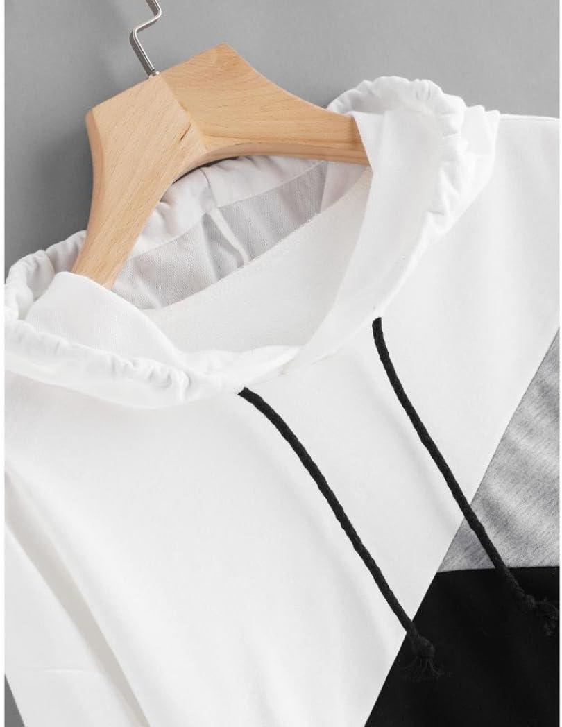 XL, ROSE Sweatshirt Femme Imprim/é LMMVP Femmes Sweat /à Capuche Patchwork Manche Longue Pullover Sweat-shirt Chemisier