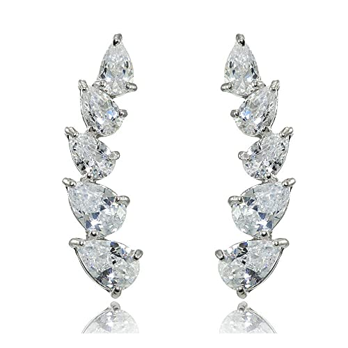 8a5f62882 Image Unavailable. Image not available for. Color: Sterling Silver Teardrop  Cubic Zirconia Curved Climber Crawler Earrings