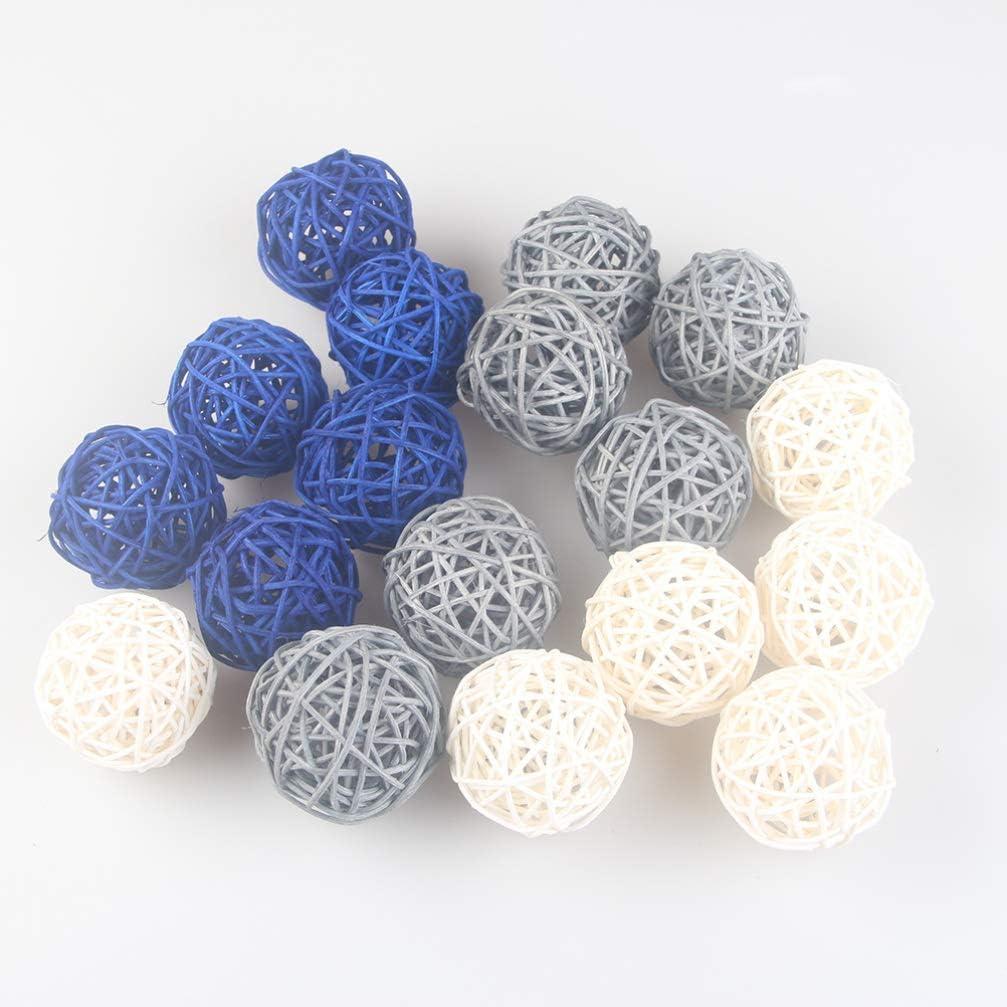 Exceart 15Pcs Wicker Rattan Balls Retro Hanging Vine Ball Spherical Natural Woven Vase Fillers Orbs Wedding Party Decor for DIY Craft Kindergarten Bar 5cm 3 Colors