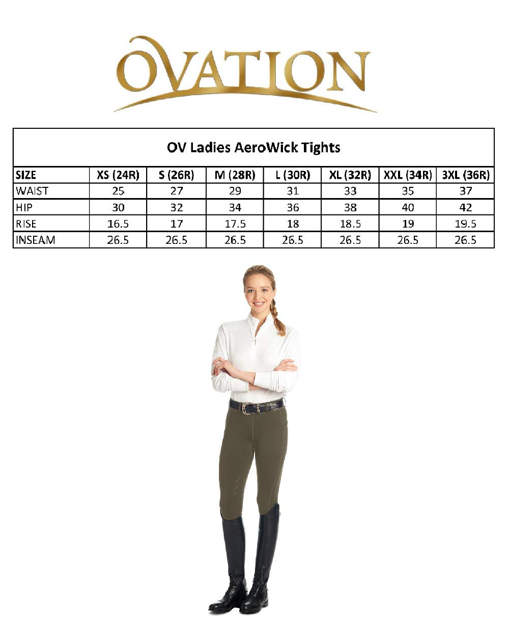 Ovation Ladies AeroWick Silicone Knee Patch Black Tights ENGLISH RIDING SUPPLY