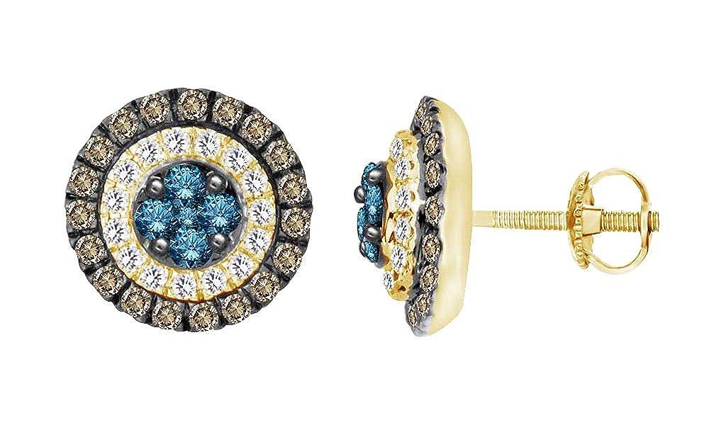 Ohrstecker 10 Karat massives Gold Rundschliff Weißszlig;er blauer und champagnerfarbener Diamant 14 Karat (585) GelbGold