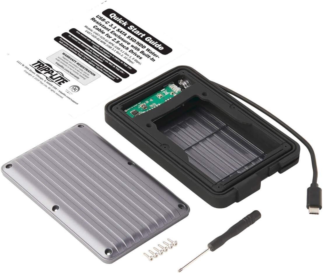 Tripp Lite USB-C to SATA Adapter Enclosure UASP U457-025-G1-WPG Thunderbolt 3 IP66 Rated USB 3.1 Gen 1 SSD//HDD Enclosure Adapter 5 Gbps