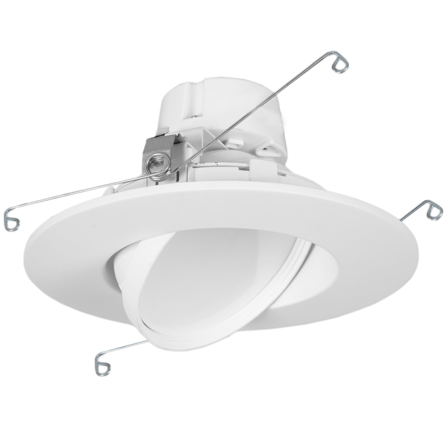 "11 Watt 6""-Inch Rotatable 750 Lumens Maxxima LED Retrofit Downlight Gimbal Warm White 2700k Dimmable, Straight E26 Connection Cable, Energy Star"