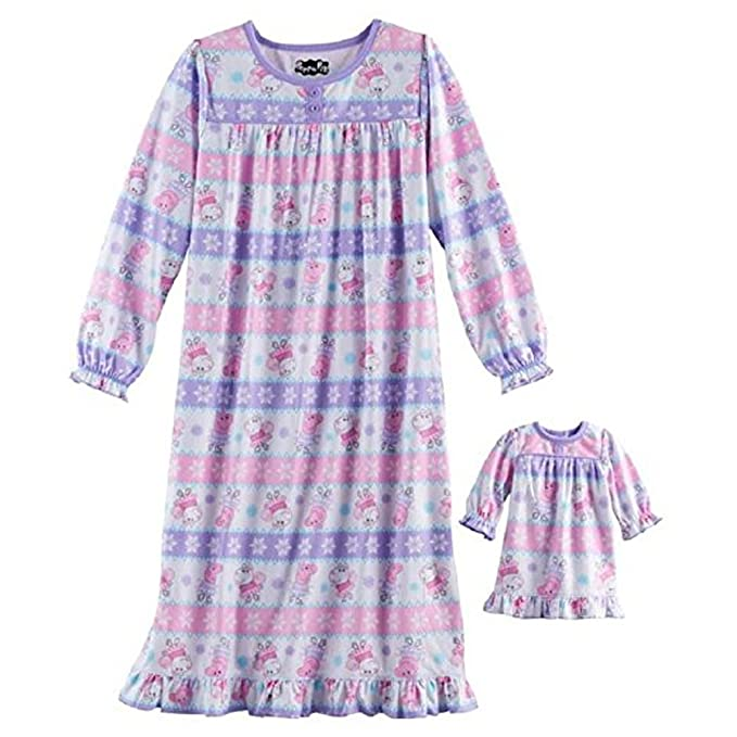 Komar Peppa Pig Little Girls Granny Nightgown With Doll Gown (XS (4 ...