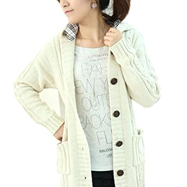77972afd2e Minetom® Womens Cable Knit Sweater With Button Grandfather Long Hooded Poor  Coat - White -