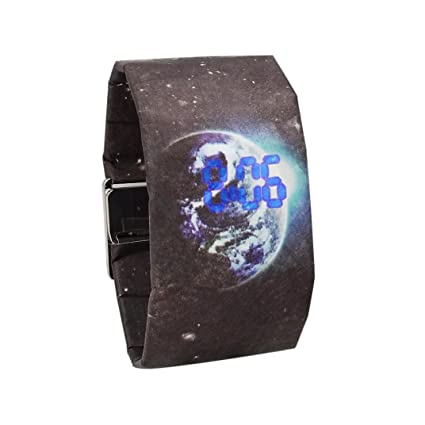 Digital Wrist Paper Watch for Women and Men, Iuhan Creative Paper Watch LED Waterproof Clock