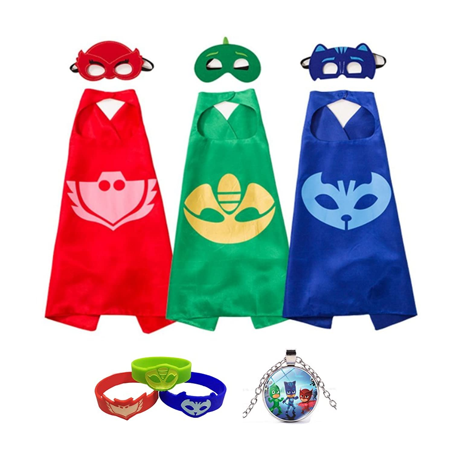 PJ Masks Costumes Catboy Owlette Gekko Masks Capes Bracelets Necklace