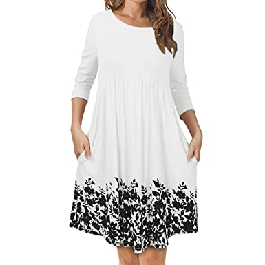 317014be2160 Yusealia Women Sexy Floral Print Midi Dresses Clearance Sale Long Sleeve  O-Neck Loose Prom Evening Cocktail Party Dress Casual Elegant Summer Beach  ...