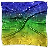 Dark Blue Green Gold Gradient Pattern Women's Neckerchief Large Square Scarf Satin Headscarf