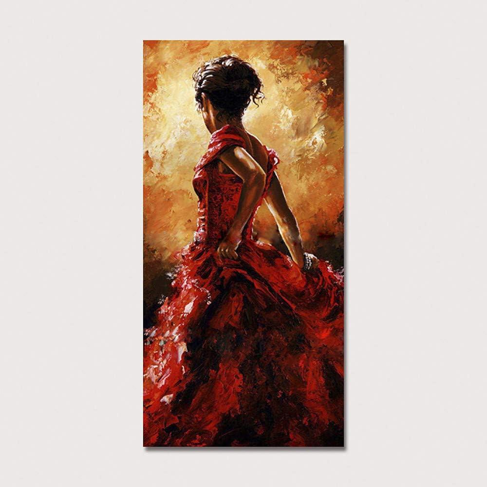 Pintura al óleo Pintado a Mano-Moderno Lienzo Enrollado: Amazon.es ...
