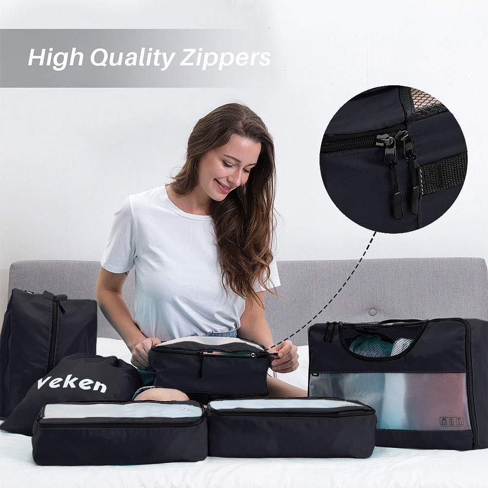 Veken 6 Set Packing Cubes, Travel Luggage Organizers with Laundry Bag & Shoe Bag (Black) by Veken (Image #3)