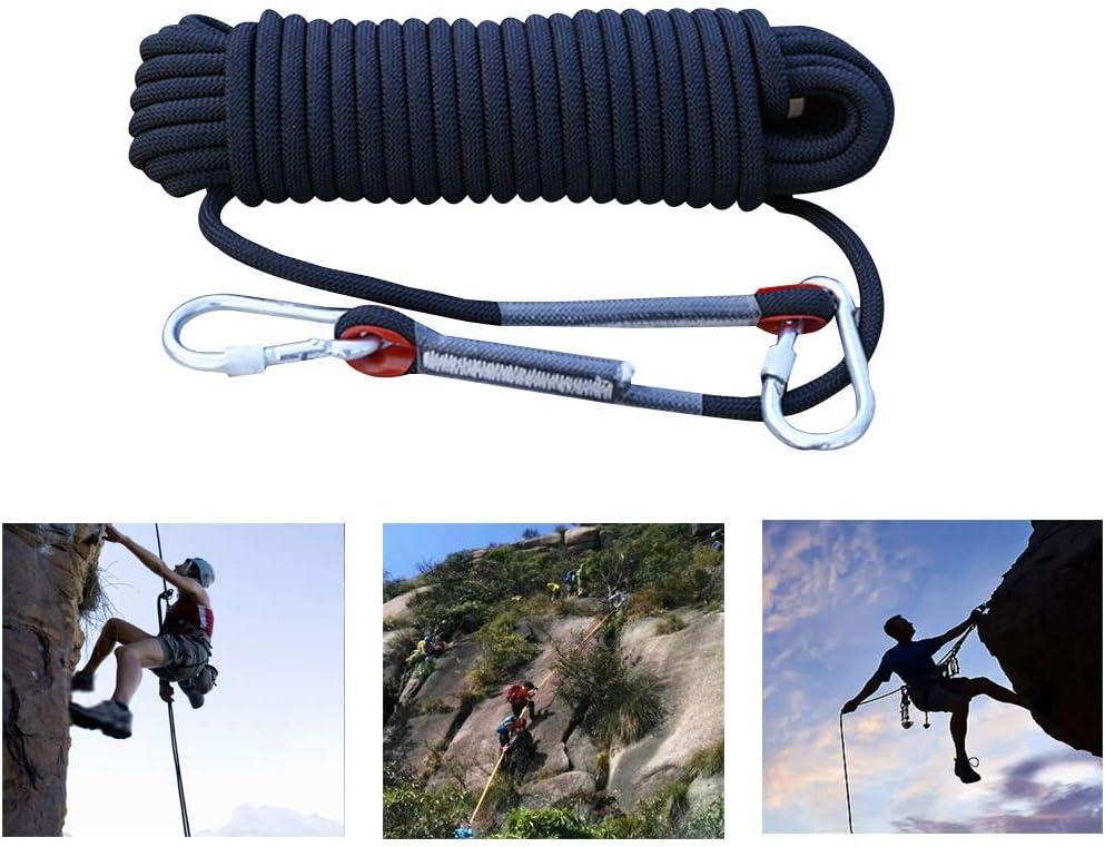 登山ロープ 多目的ロープ 12Mm屋外空中作業ロープナイロンロープクライミングエスケープロープワイヤー摩耗ロープ(黒),30m  30m