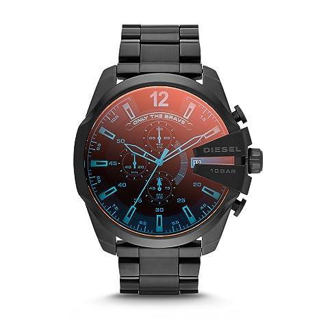 Diesel Men's Mega Chief Quartz Stainless Steel Chronograph Watch, Color: Black (Model: DZ4318)