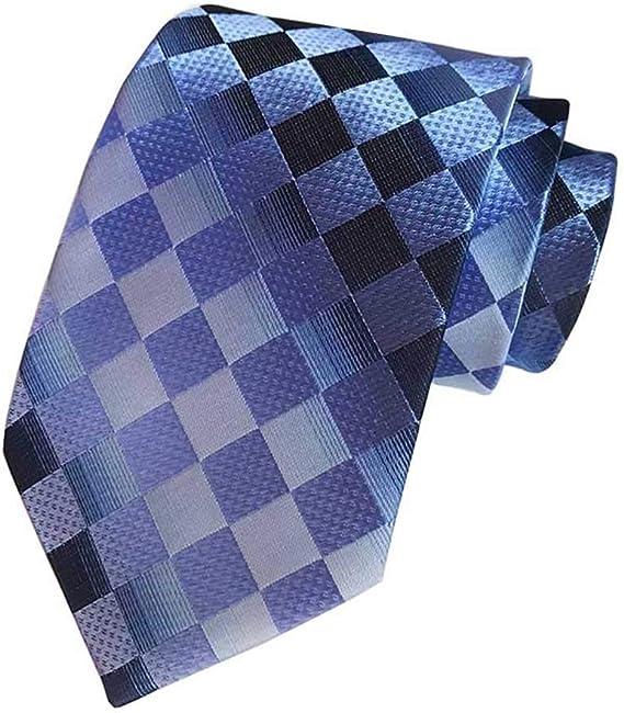 USA New Dark Blue Mens Tie Blue Plaids Checks Jacquard  100/% SIlk Necktie Set